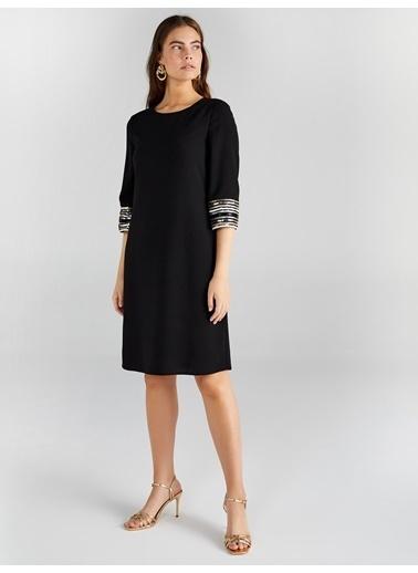 Faik Sönmez  Payet Detaylı Abiye Elbise 61108 Siyah